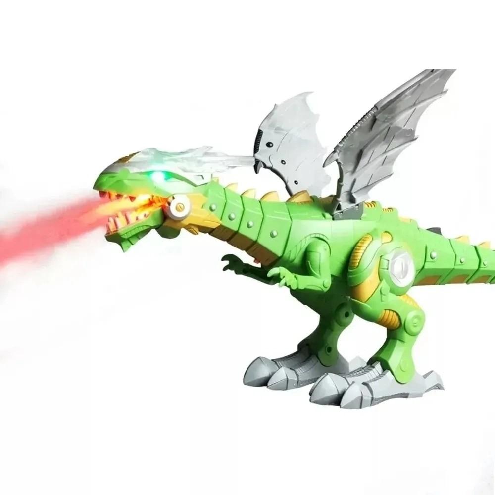 Cyber Dragão Rex Realista de 45cm que Anda Solta Fumaça e Luz - Verde