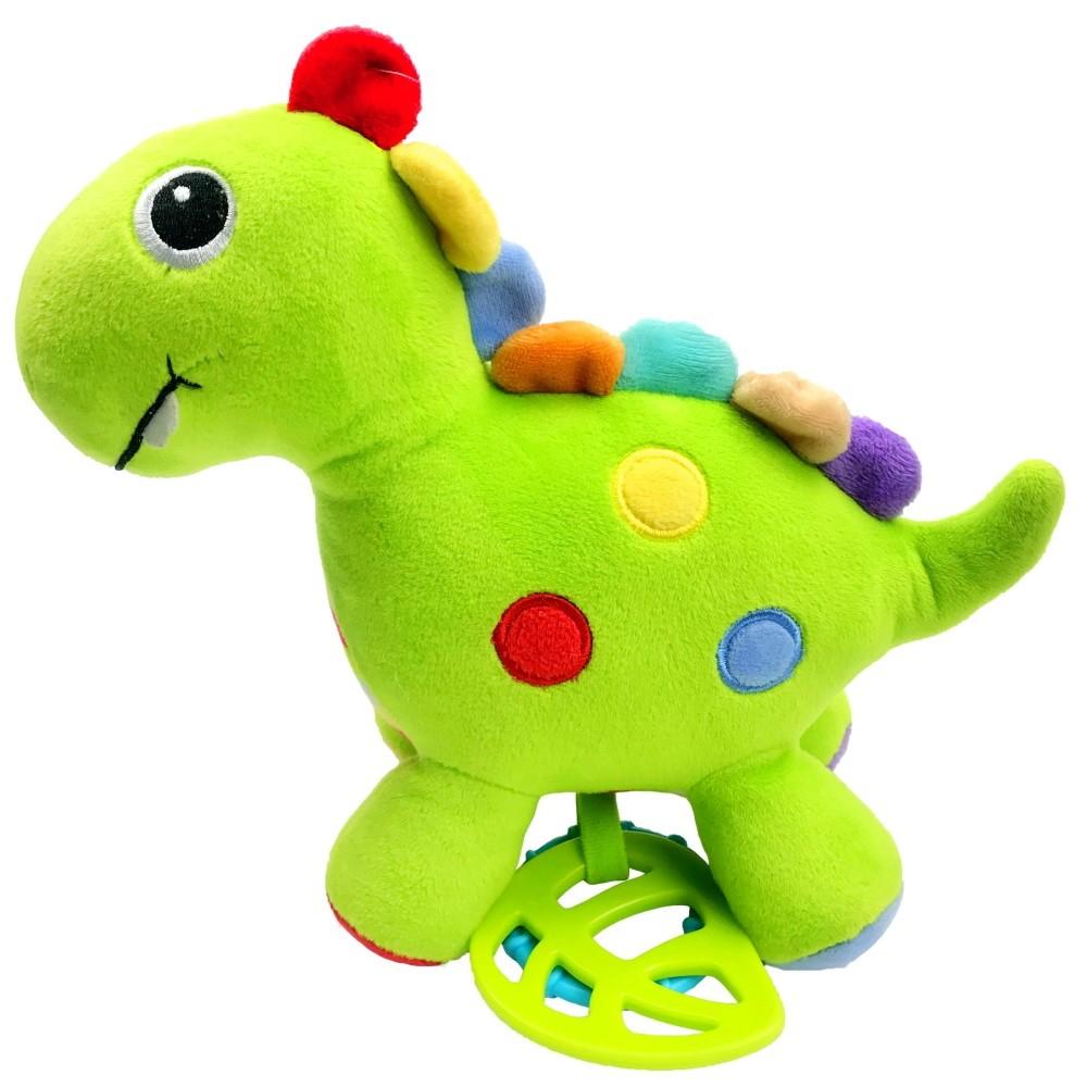 Dinossauro de Atividades Pelúcia Bebê com Mordedor Chocalho