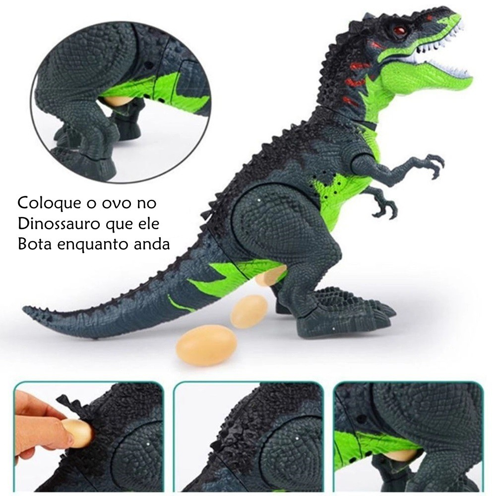 Dinossauro que Anda Tiranossauro Rex com Som Luz e Bota Ovo - Verde