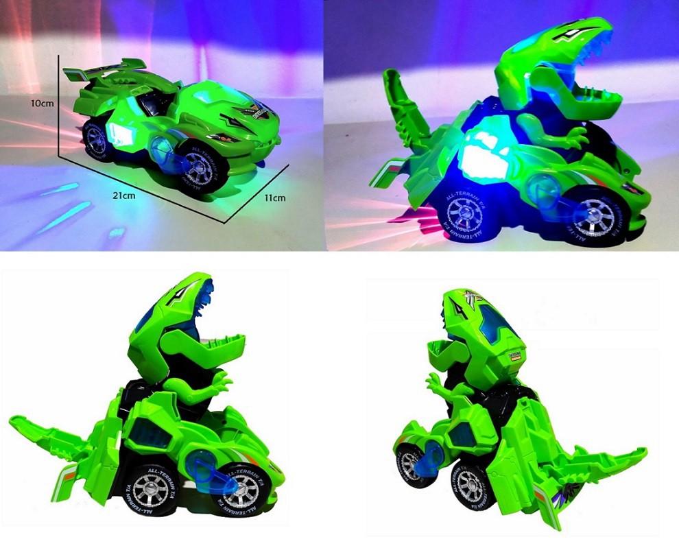 Dinossauro Rex de Combate com Camaro Amarelo Carrinho que Vira em Robô
