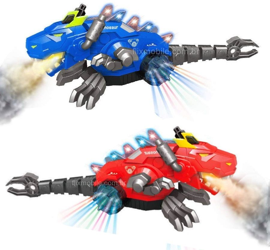 Dragão Robô Solta Fumaça Bate e Volta com Luzes Mexe Cabeça Cauda e Sons