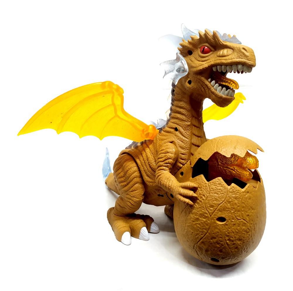 Dragão Tiranossauro Rex que Anda com filhote no Ovo e Luzes e Sons