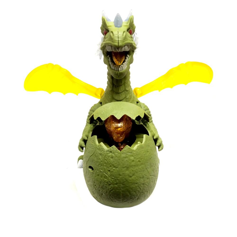 Dragão Tiranossauro Rex que Anda com filhote no Ovo e Luzes e Sons Verde