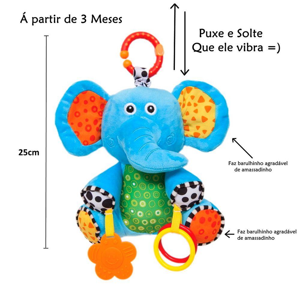 Elefantinho de Atividades Pelúcia Baby que Vibra com Mordedor para Bebe Buba