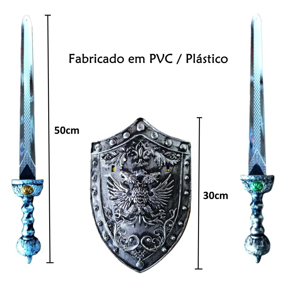 Espada Pirata com Escudo Kit com duas Espadas e um Escudo Prata