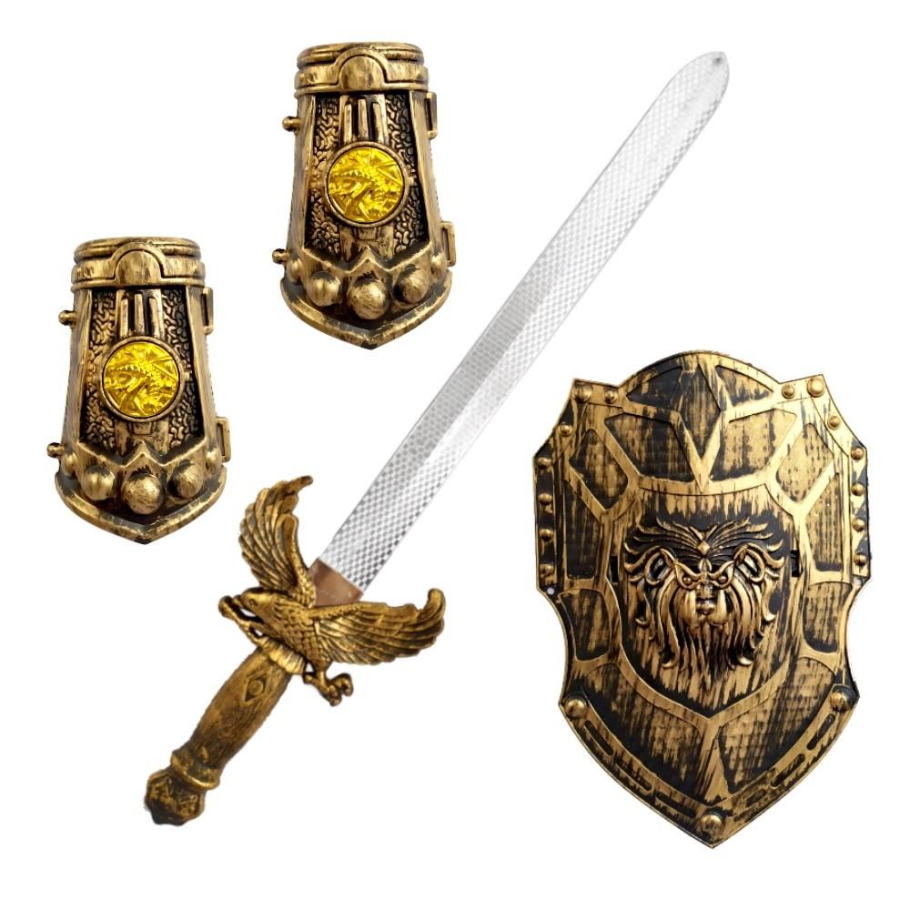 Espada Viking com Escudo e Proteção de Punhos Brinquedo Meninos