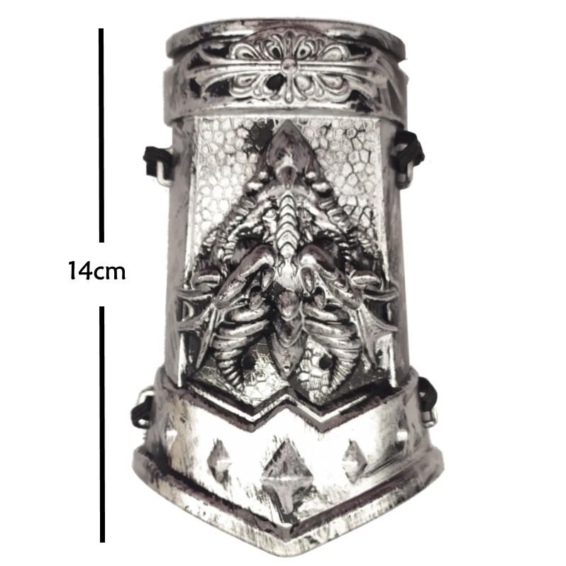 Fantasia Infantil Guerreiro Medieval Com Punho e Arminha Prata