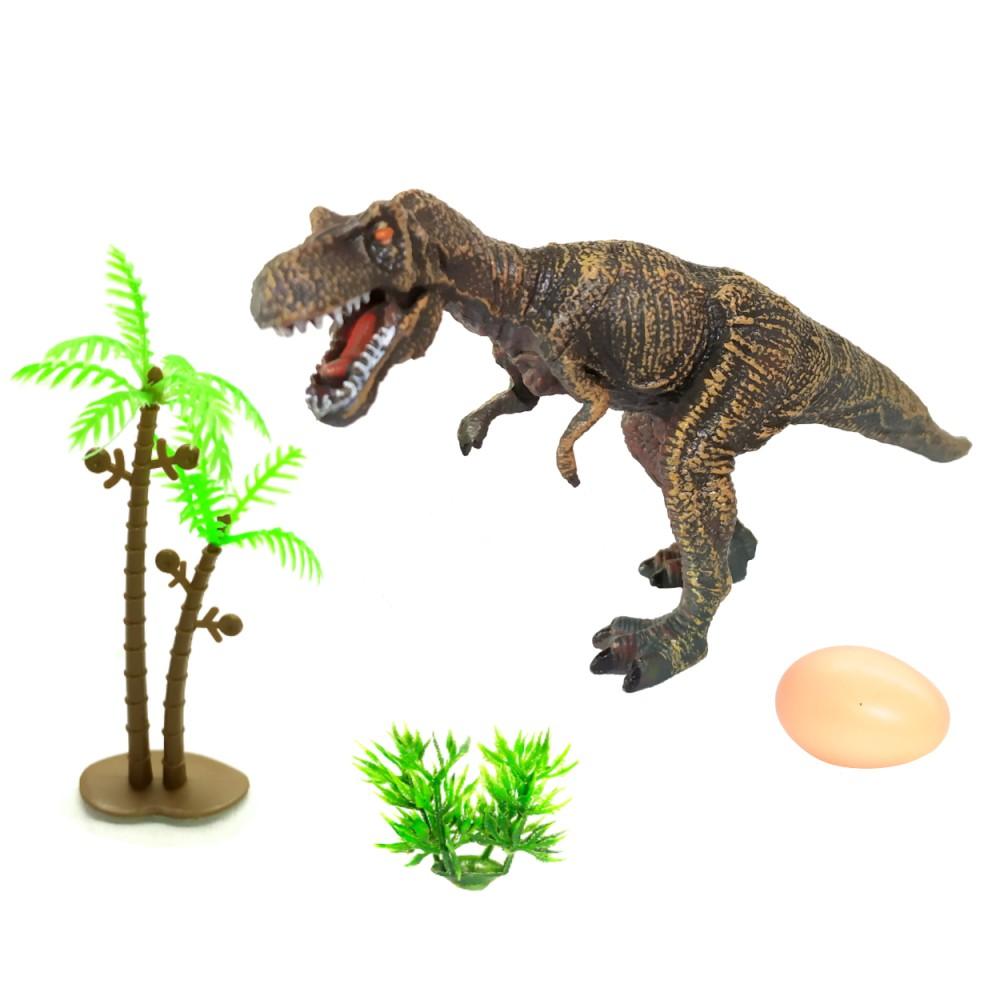 Figura Dinossauro Tiranossauro Realista com ovo Arbusto e Árvore