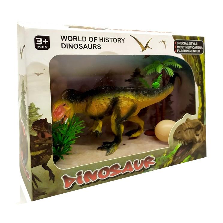 Figura Dinossauro Velociraptor Realista com ovo Arbusto e Árvore
