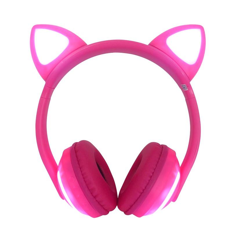 Fone de Gatinho com 7 Cores de LED Sem fio com Microfone Headset Orelha de Gato