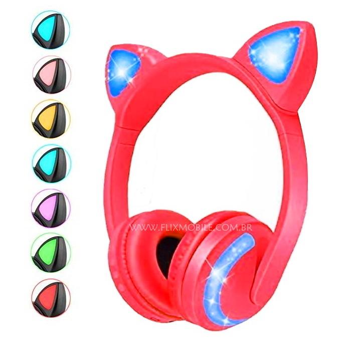 Fone de Gatinho com 7 Cores de LED Sem fio com Microfone Headset Orelha de Gato Vermelho