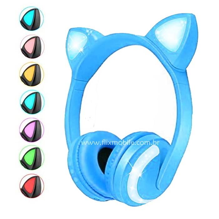 Fone de Gatinho Infantil com Luzes 7 Cores com Orelhas de Gato Azul
