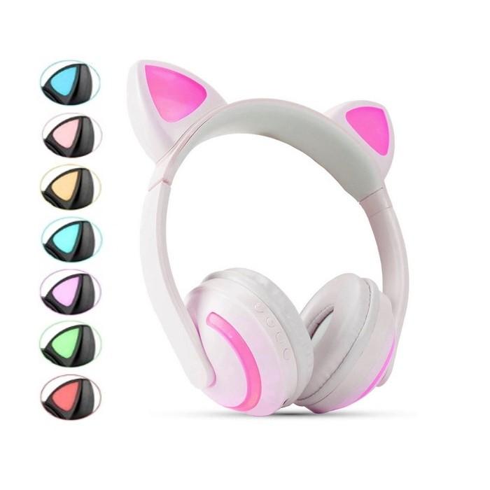 Fone de Gatinho Infantil com Luzes 7 Cores com Orelhas de Gato Branco