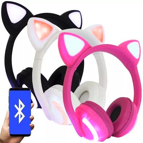 Fone de ouvido Bluetooth Sem Fio Orelha de Gato