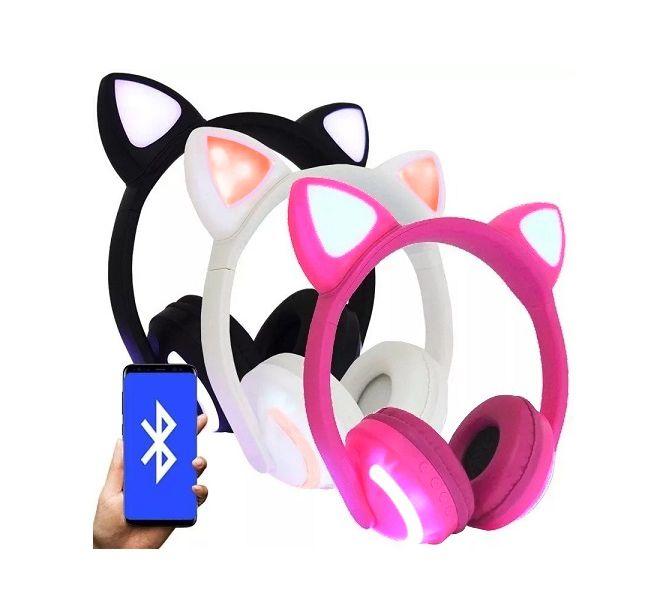Fone de ouvido Bluetooth Sem Fio Orelha de Gato - Orelhas de Gatinho 7 Cores