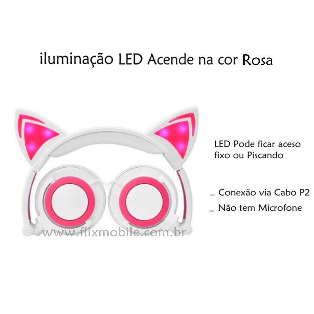 Fone De Ouvido Gatinho Com Led Headphone Orelha De Gato Branco