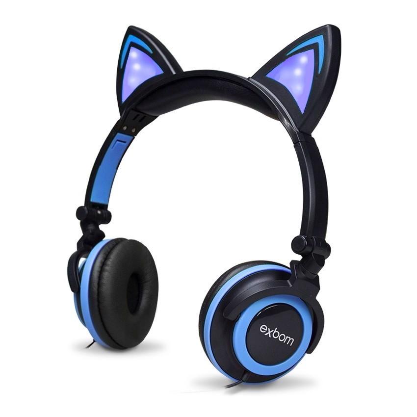 Fone De Ouvido Gatinho Com Led Headphone Orelha De Gato Preto e Azul