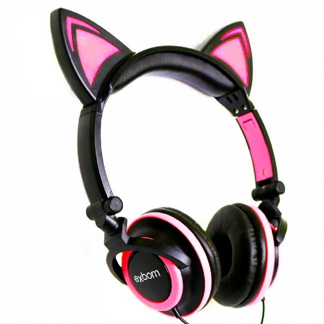 Fone De Ouvido Gatinho Com Led Headphone Orelha De Gato Preto e Rosa