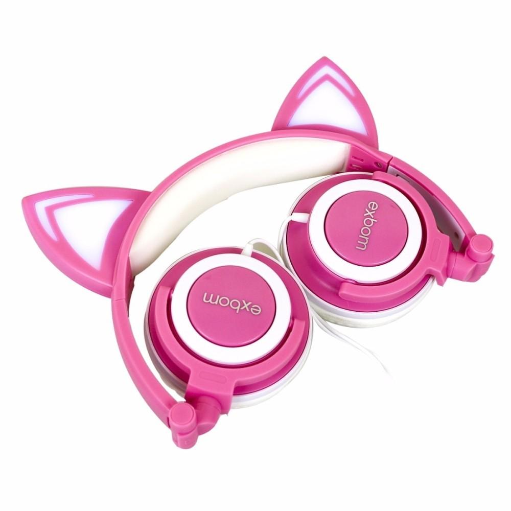 Fone De Ouvido Gatinho Com Led Headphone Orelha De Gato Rosa