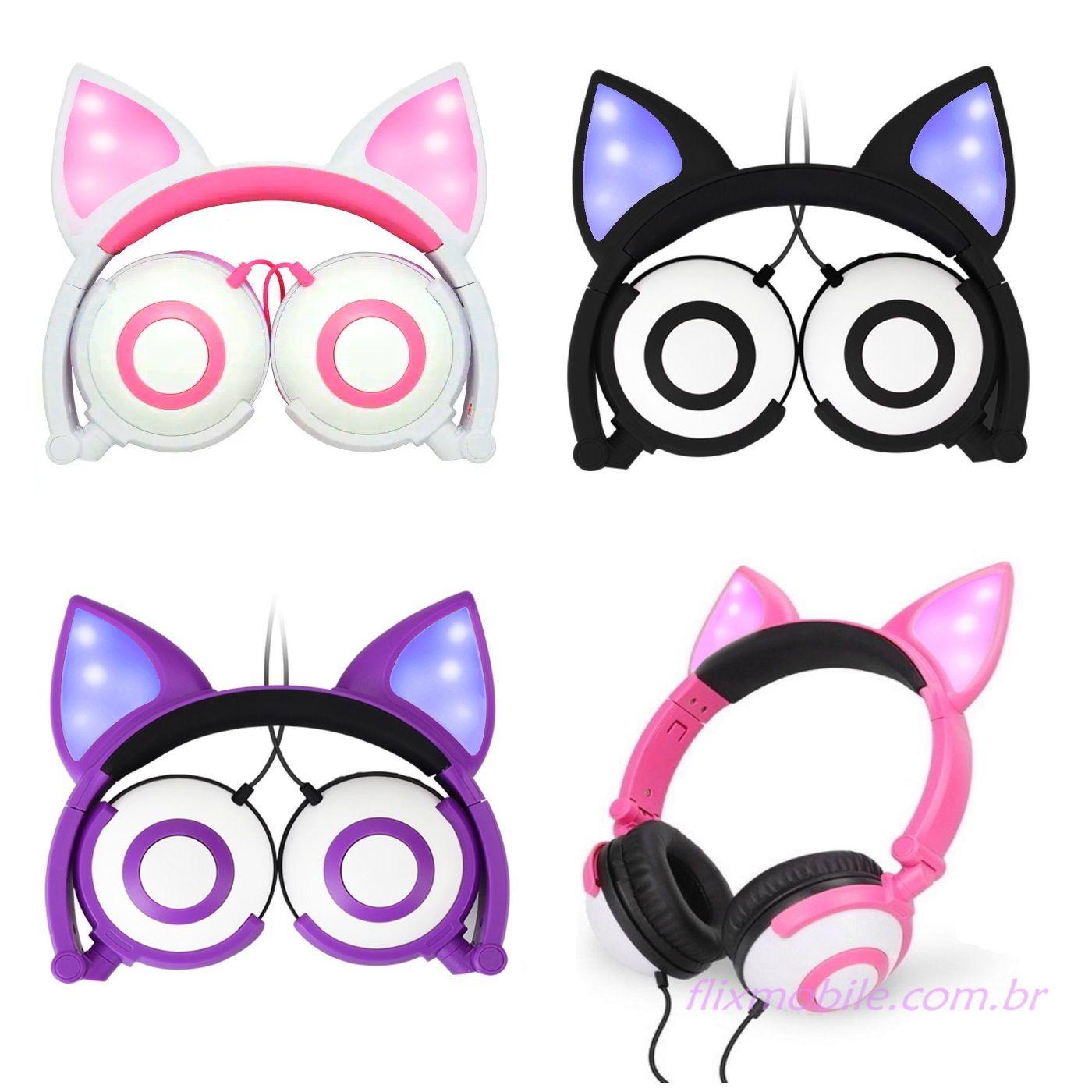 Fone de ouvido infantil com LED e Orelhas de Gato que acendem