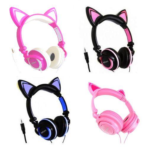 Fone de ouvido Orelha de Gato com fio Fone de Gatinho Infantil