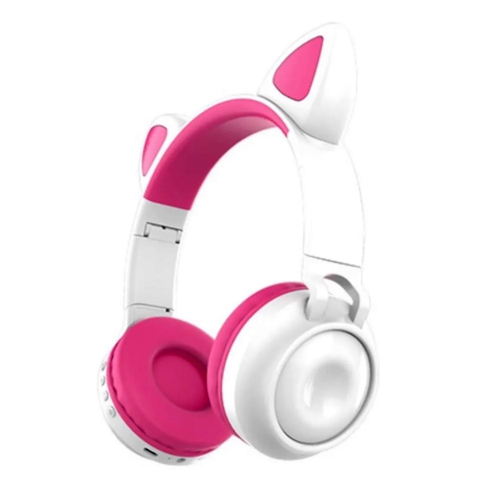 Fone de Ouvido Sem Fio Orelhas de Gato 8 Cores de LED Headset Gatinho Bluetooth Branco