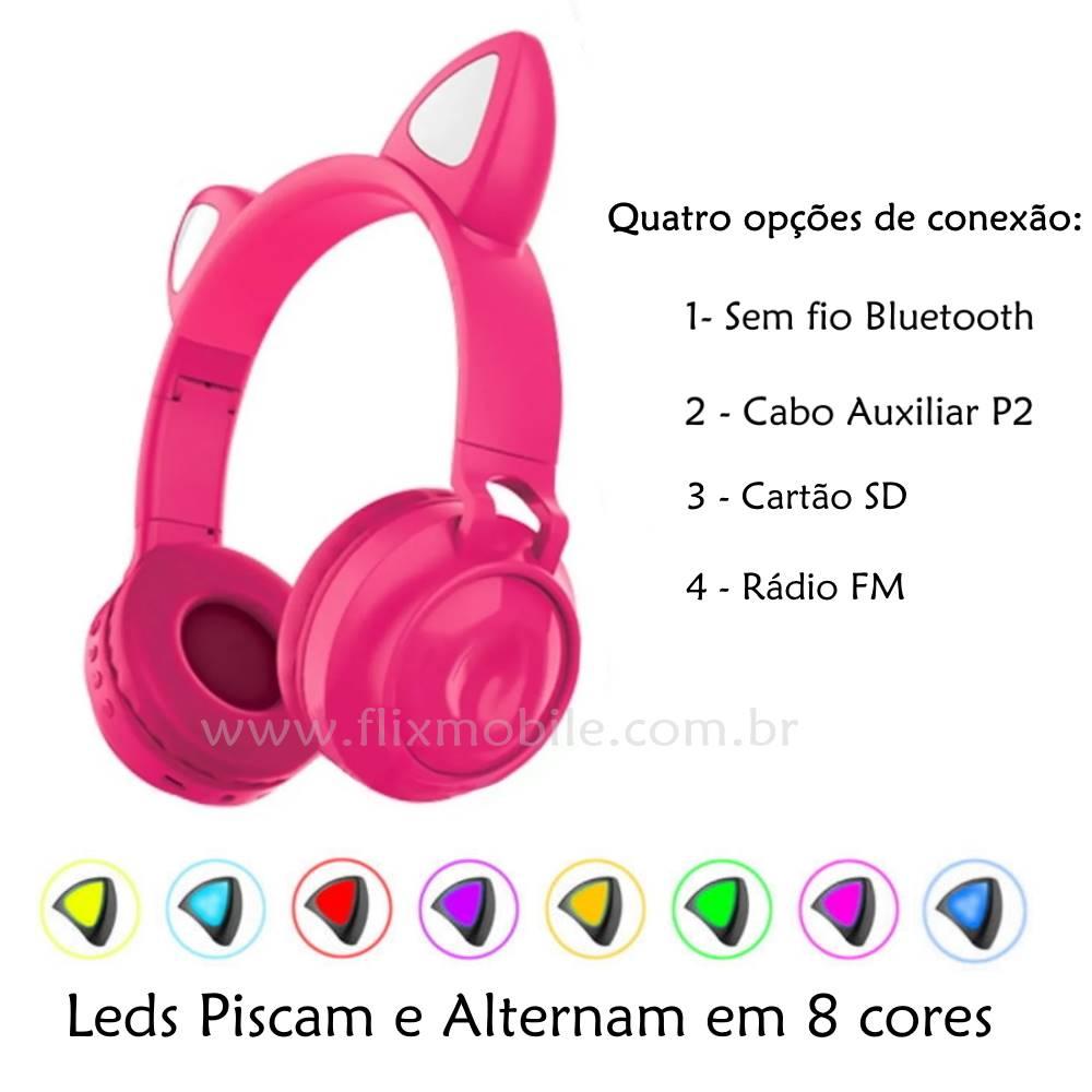 Fone de Ouvido Sem Fio Orelhas de Gato 8 Cores de LED Headset Gatinho Bluetooth Pink