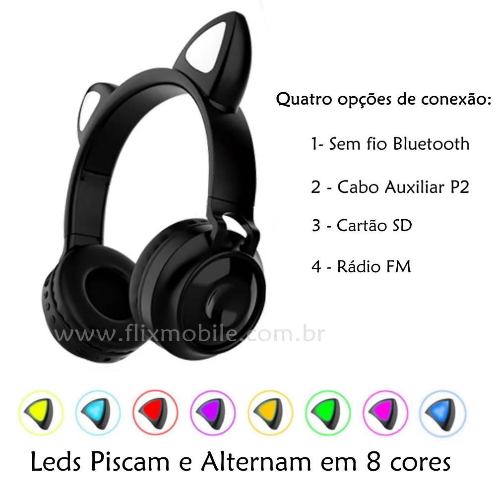 Fone de Ouvido Sem Fio Orelhas de Gato 8 Cores de LED Headset Gatinho Bluetooth Preto