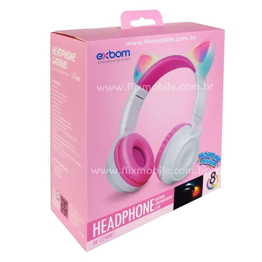 Fone de Ouvido Sem Fio Orelhas de Gato 8 Cores de LED Headset Gatinho Bluetooth Roxo