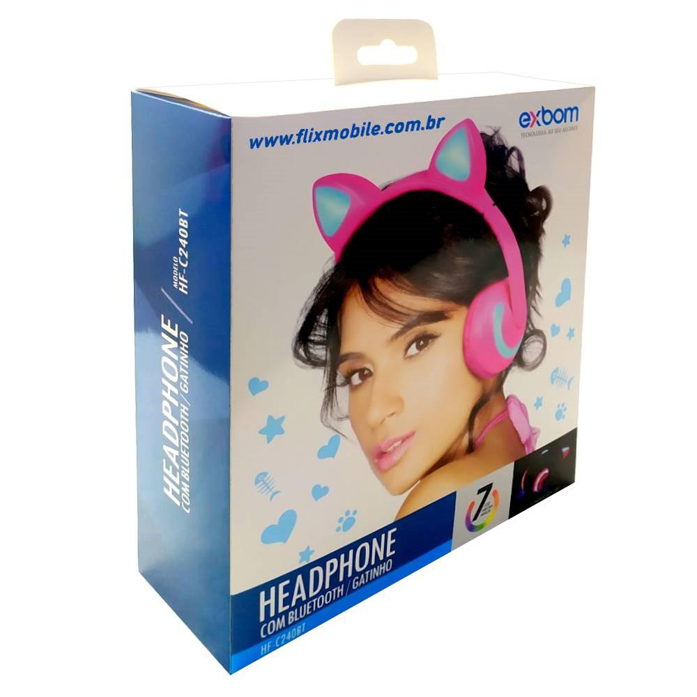 Fone de Ouvido Sem Fio Orelhas de Gato com 7 Cores de LED Headset de Gatinho Bluetooth Preto com Rosa