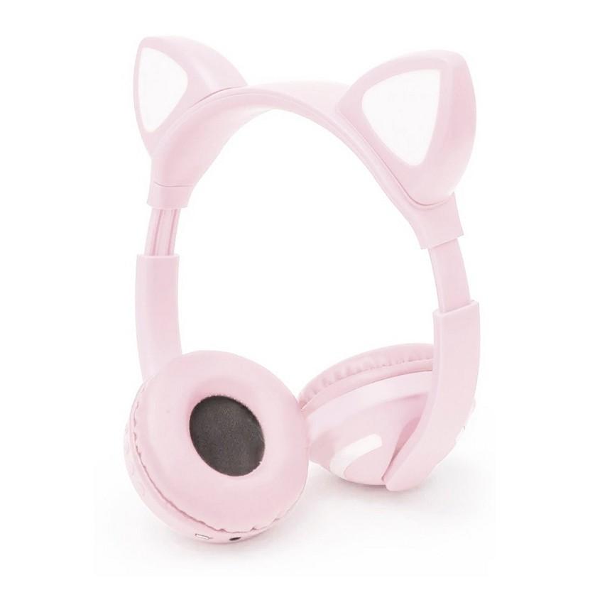 Fone de Ouvido Sem Fio Orelhas de Gato com 7 Cores de LED Headset de Gatinho Bluetooth Salmão