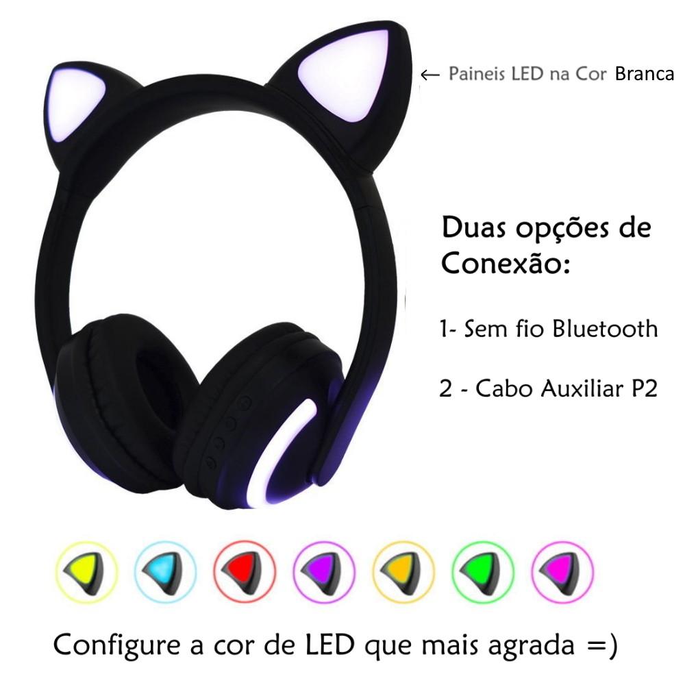 Fone Gatinho Infantil c/ Luzes 7 Cores Orelhas de Gato Preto