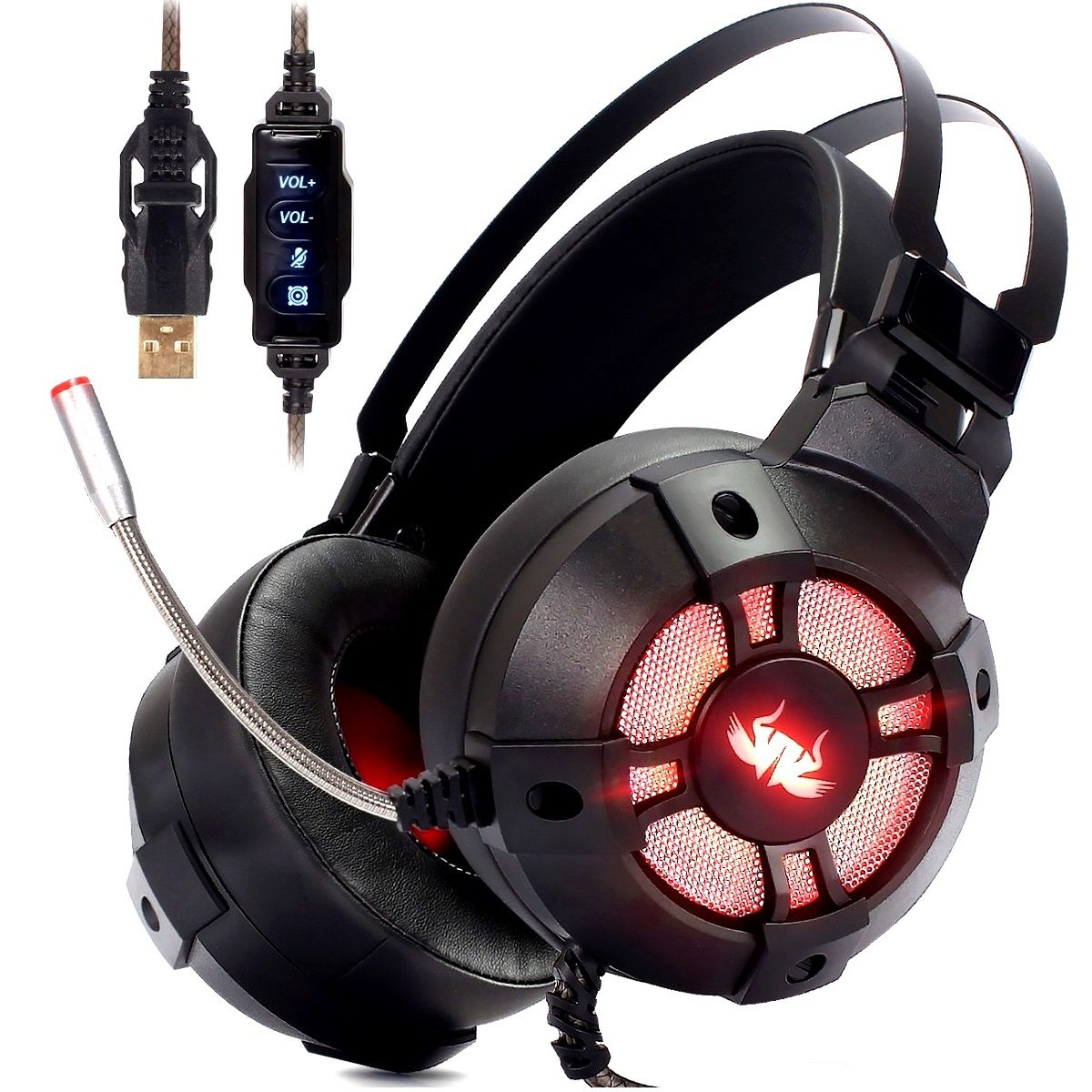 Fone Headset Gamer Extreme 7.1 USB PC PS4 Knup KP-446