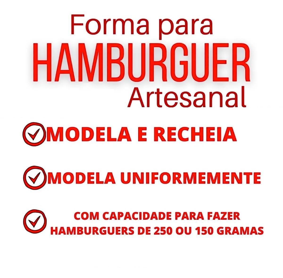 Forma de Hambúrguer Artesanal para Hambúrguer de 150g e 250g
