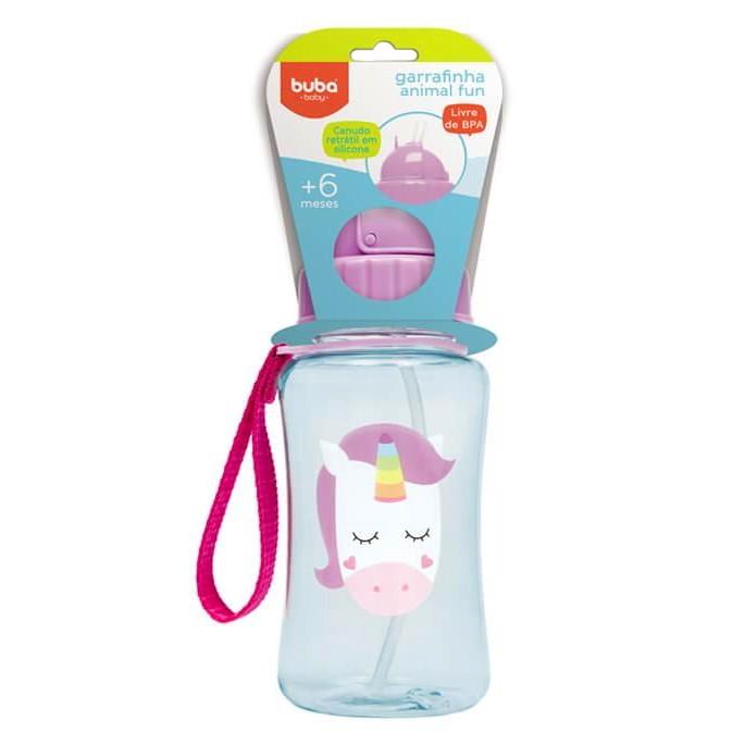 Garrafinha Infantil com Canudo 400ml Premium BUBA Animal Fun Unicórnio