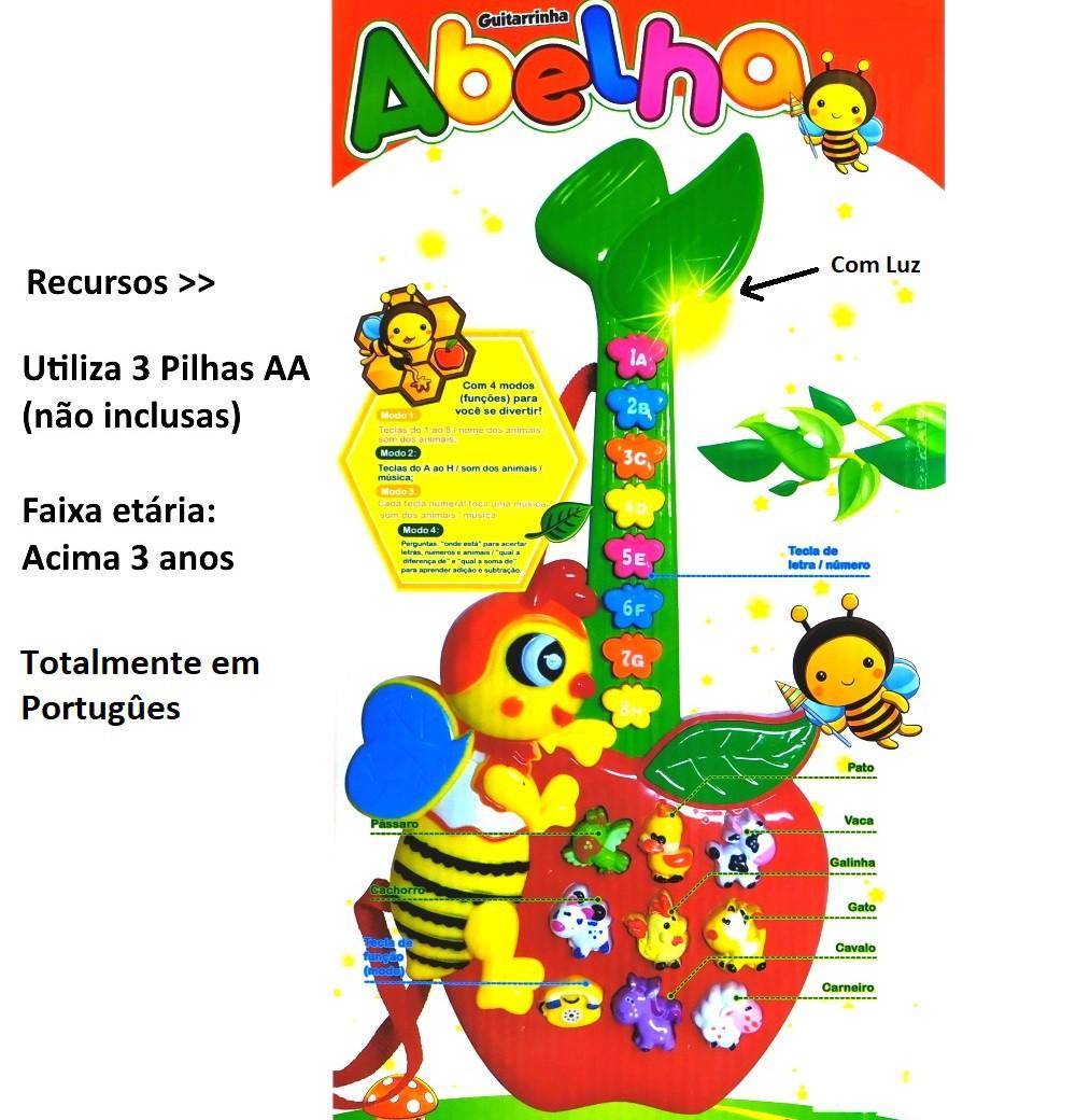 Guitarra Infantil Educativa Abelhinha em Português com Músicas Sons de bichos