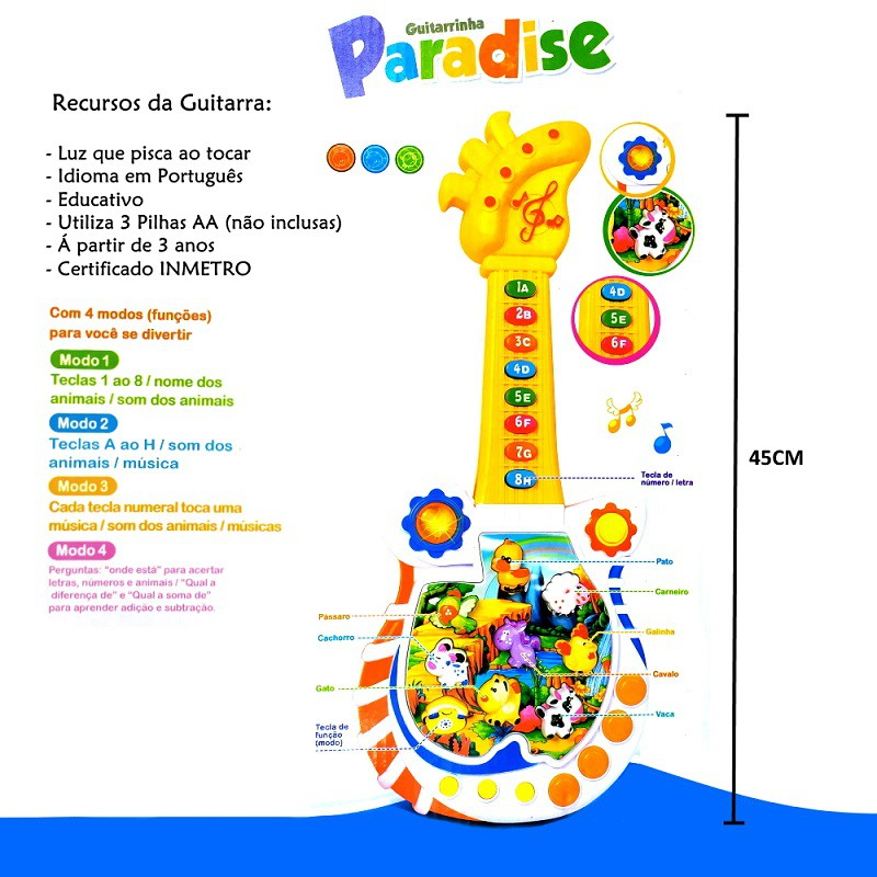 Guitarra Musical Paraiso dos bichos em Português Luz e Jogo de Perguntas