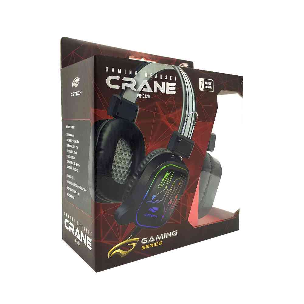 Headset USB Gaming Crane LED Multicores com  Microfone PC e Video Game
