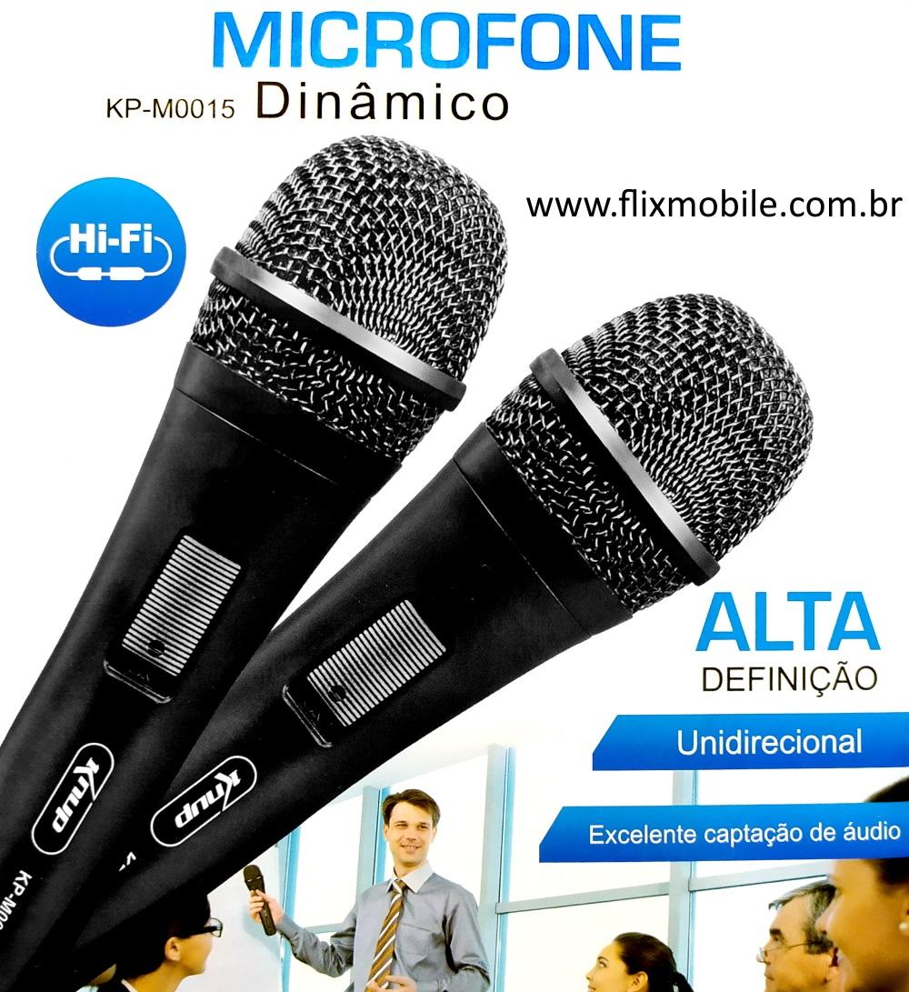 Kit 2 Microfones Dinâmico Hi-Fi HD Com Fio de 3 Metros para Karaokê