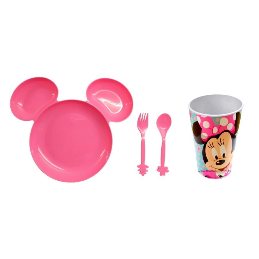 Kit Alimentação infantil com Prato e Copo da Minnie