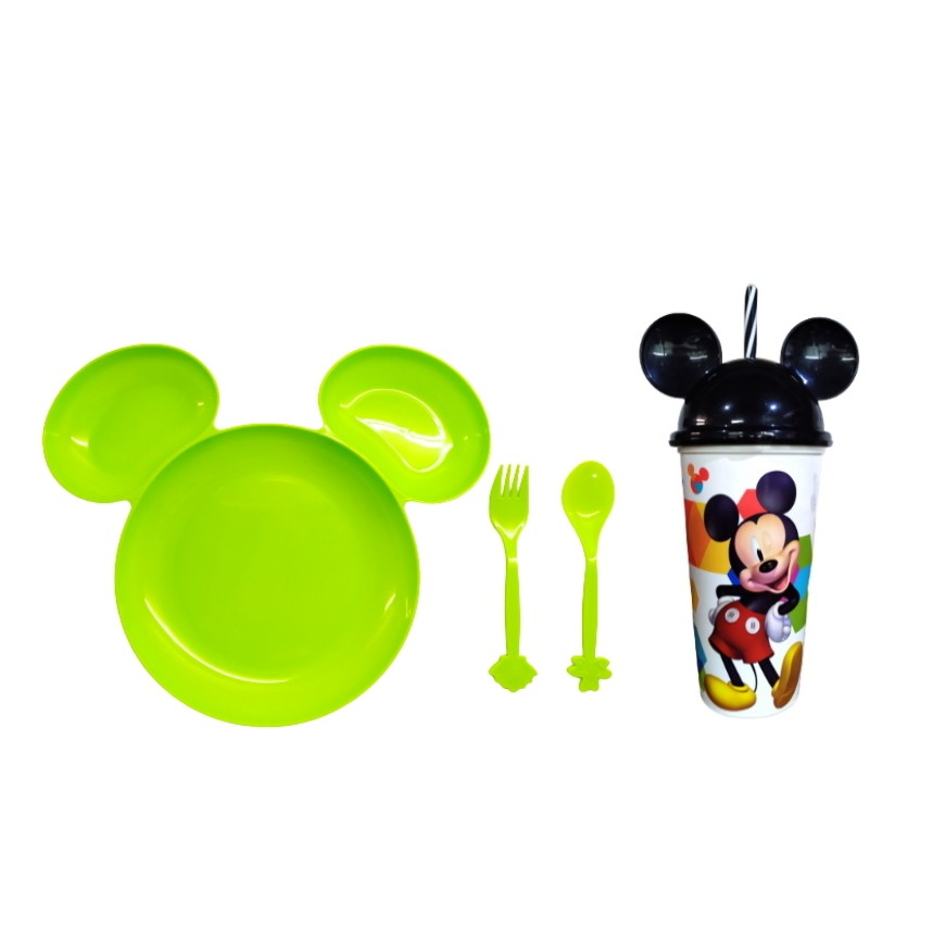 Kit Alimentação infantil Prato e Copo com Canudo e Orelhas do Mickey