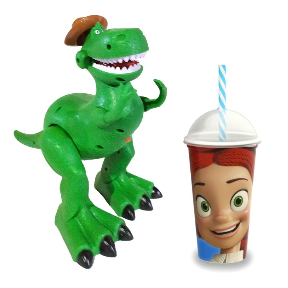 Kit Boneco Dino Rex que Anda e Toca Musica com Copo Jessie Toy Story