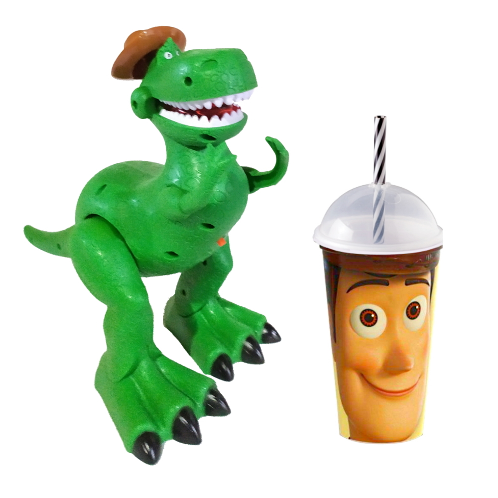 Kit Boneco Dino Rex que Anda e Toca Música com Copo Woody Toy Story