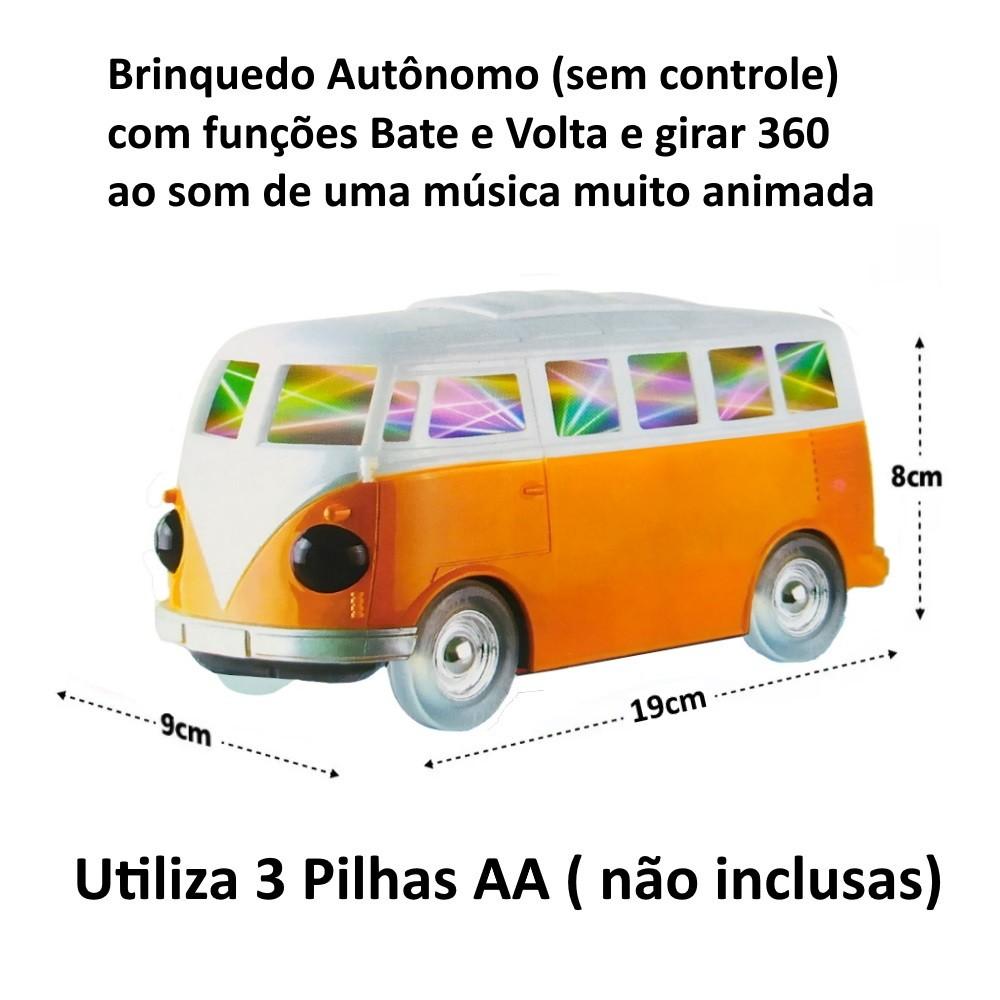 Kit Brinquedo Infantil Bate e Volta Luz Som  Perua e Fusca Clássicos Volkswagen