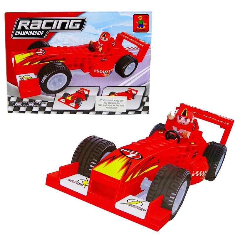 Kit c/ 3 Brinquedos Educativos de Montar Caminhão Caçamba Betoneira e Carrinho Formula 1
