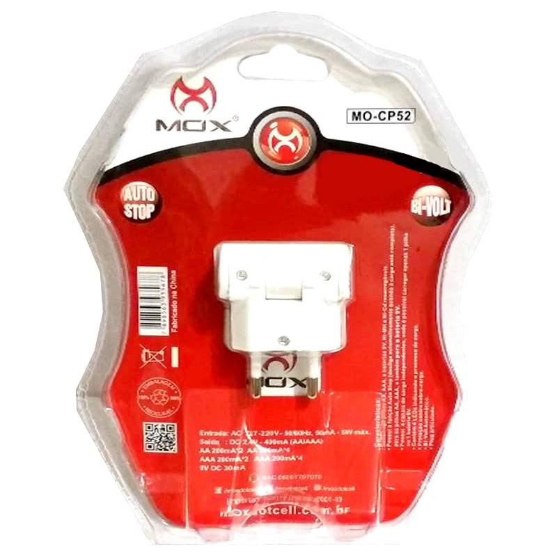 Kit c/ 4 Pilhas Recarregáveis PALITO AAA de 1.000mAh + Carregador Rápido Bivolt MOX