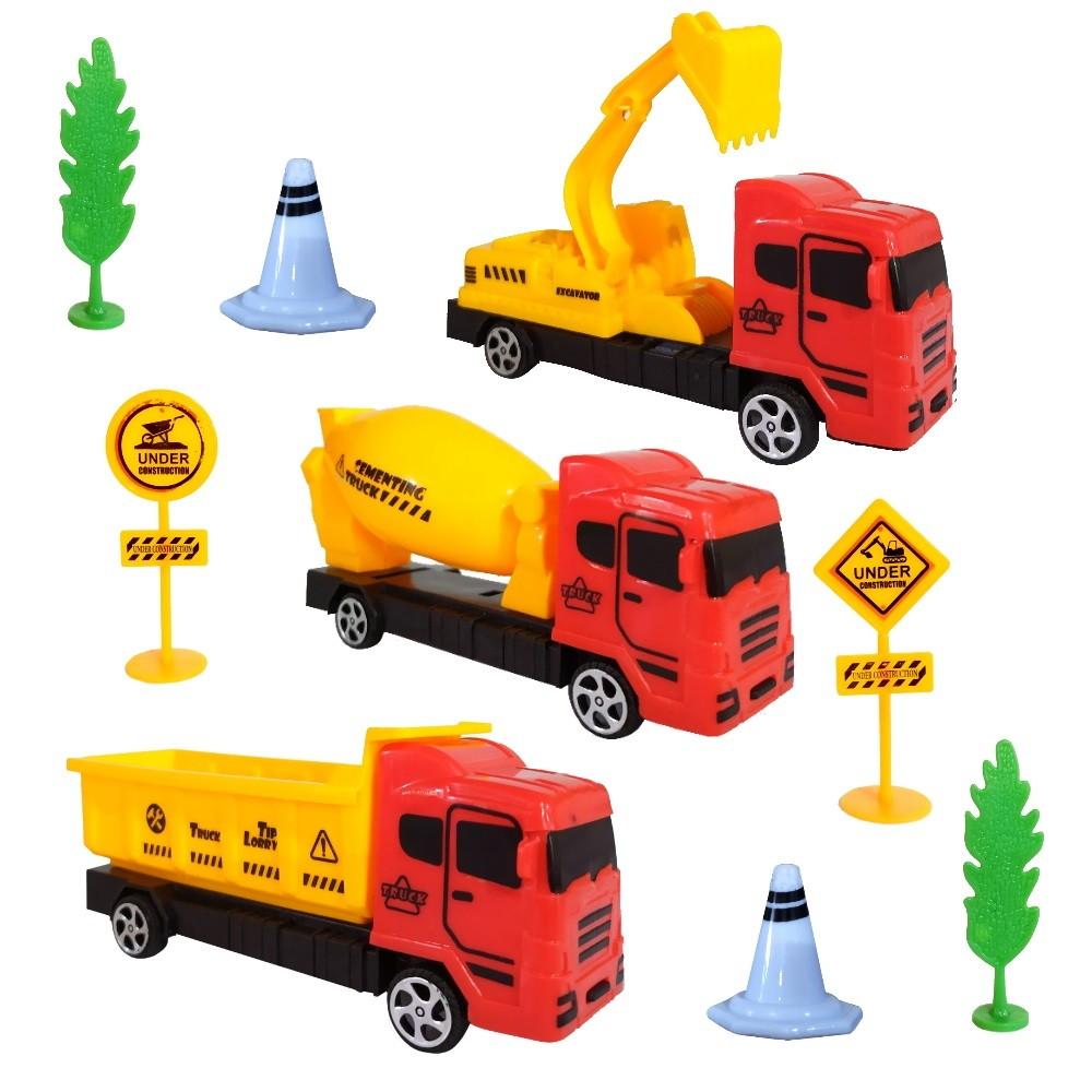 Kit Caminhões Construção Betoneira Caçamba e Escavadeira com Acessórios