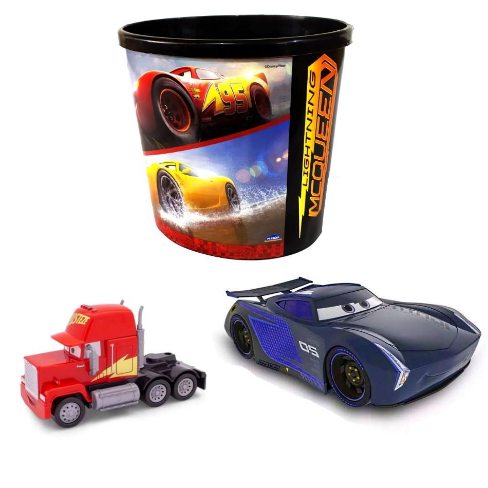 Kit Carros 3 em 1 Jackson Storm e Caminhão Mack com Pote de Pipoca do Relâmpago Macqueen
