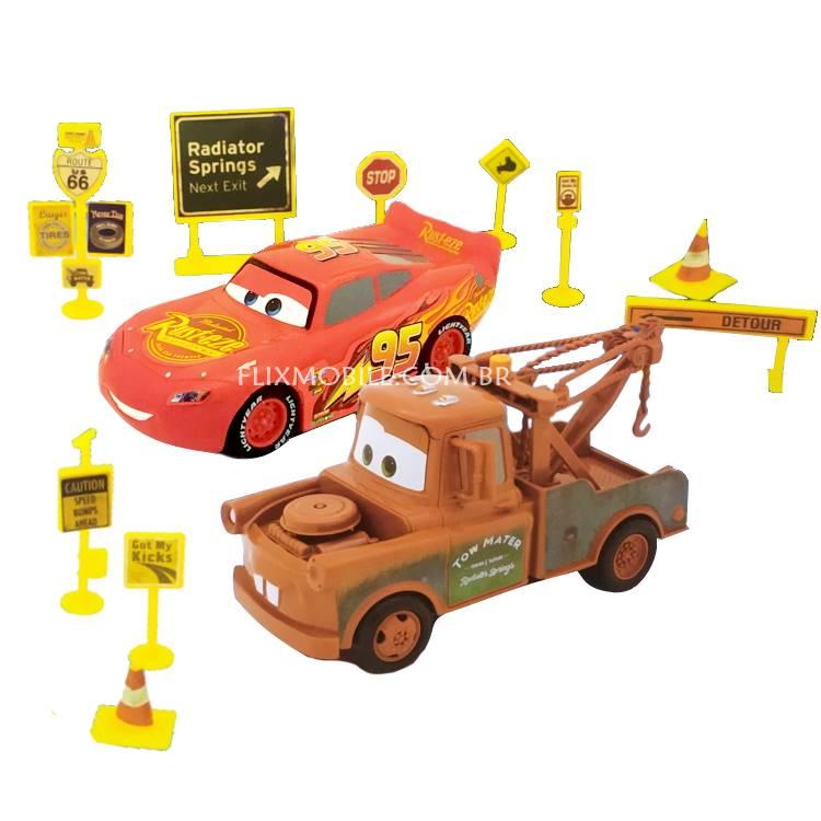 Kit Carros Relâmpago Mcqueen e Mate Roda Livre e Acessórios