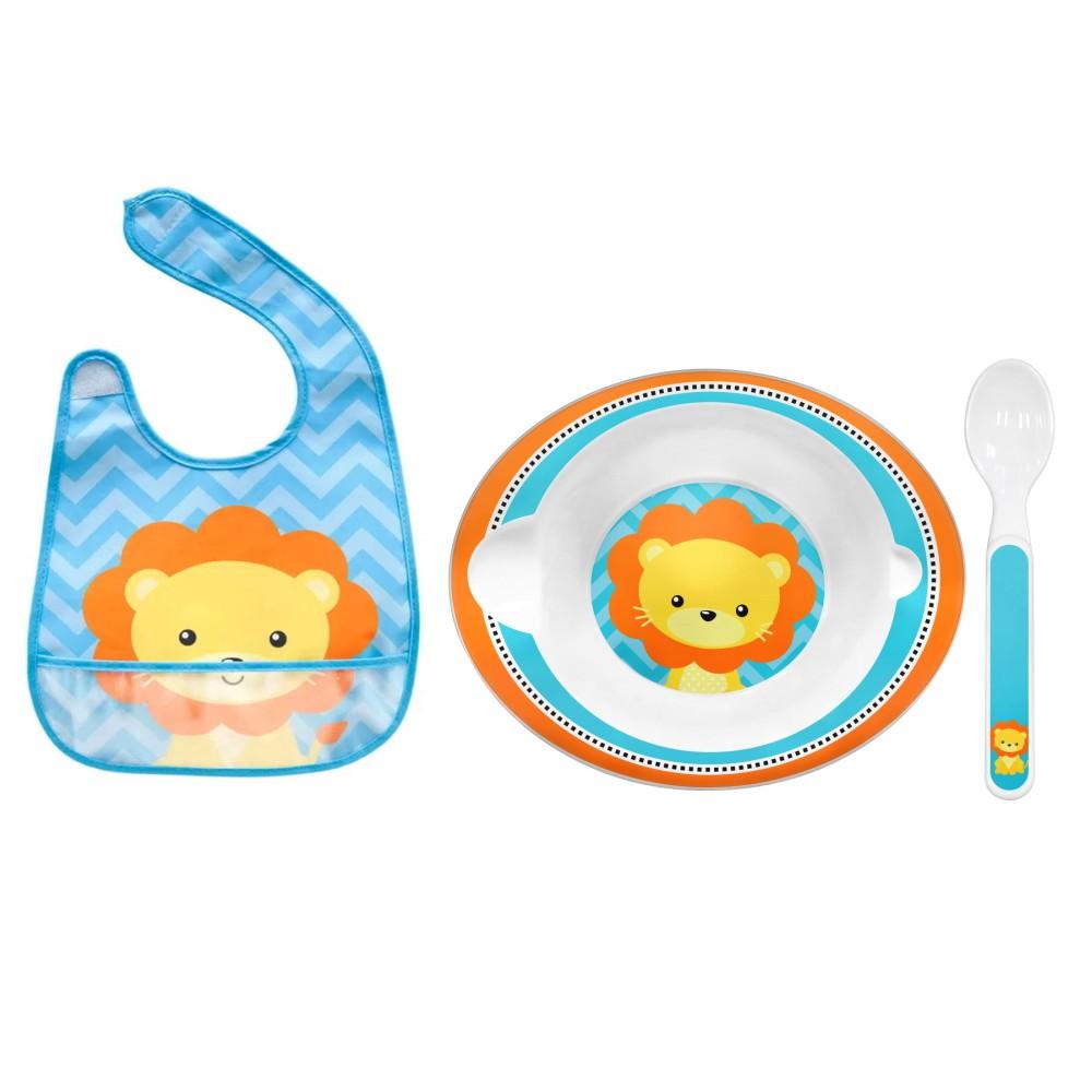 Kit Chá de Bebê 3 em 1 com Babador Pratinho Bowl e Colher Infantil Leão BUBA